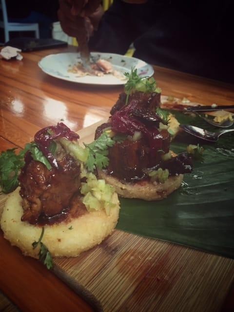 arepas con marranitas del restaurante Elena Adentro en Filandia - Quindío